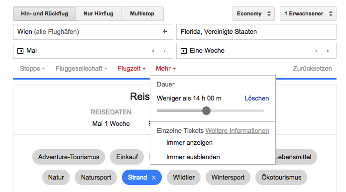 Google-Flight-Flugsuche-Duration-Limited-Search
