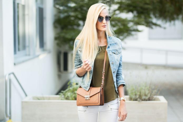 Summer Casual: White Jeans & Khaki Silk