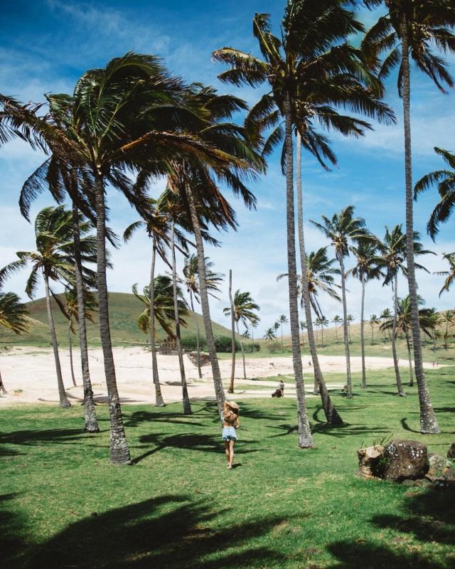 """Ich glaube eine der meistgestellten Fragen die ich zum Thema Blog oder Reisen bekommen habe ist immer noch: """"was war deine genialste Reise?"""" 🛫🌴 . Das witzige daran. Ich beantworte sie fast jedes Mal anders 😃 aber gut, es gab eine Reise, die wird wohl nur die Antarktis oder Französisch-Polynesien toppen können. . Es war die #osterinsel #easterisland 9.200 Meilen oder 15.000 Kilometer von Wien entfernt. 🤯 Das Bild hier sieht auf den ersten Eindruck vllt nach einem einfachen Strandbild mit viel Wind aus aber zoomt mal ran (& ignoriert meinen warum auch immer so muskulös wirkenden Rücken 😅) könnt ihr sie sehen? Die Moai Steinriesen?? 🗿Alter das war nicht von dieser Welt! Ich habe noch ungefähr 1Mio Bilder von der Osterinsel gespeichert. Wollt ihr sie sehen? Ich kann sie ja als Flashback in die Story packen. #bucketlistmoment #easterisland🗿 #moai #traveltheworld #travelblogger #moaistatue"""